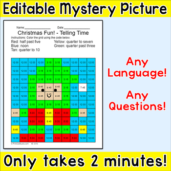 Christmas Elf Editable Mystery Picture - Any Language! Any Questions!
