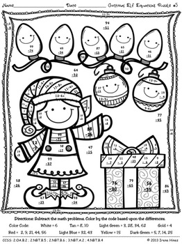 Christmas Math.Christmas Math Activities Christmas Elf Equations Color By The Code Puzzles