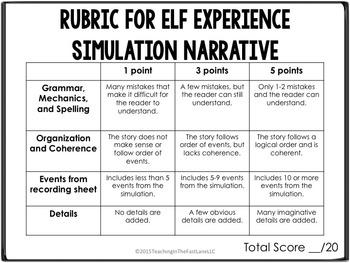 Christmas Writing Activity Elf Experience Dice Simulation