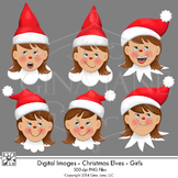 Christmas Elf Girl Faces Clip Art by Gina Jane