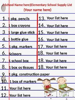 School Supply List (Editable)