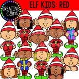 Christmas Elf Kids (Red): Christmas Clipart