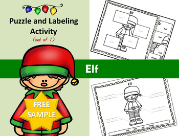 Christmas - Elf - Puzzle Parts and Labeling Activity (FREE)