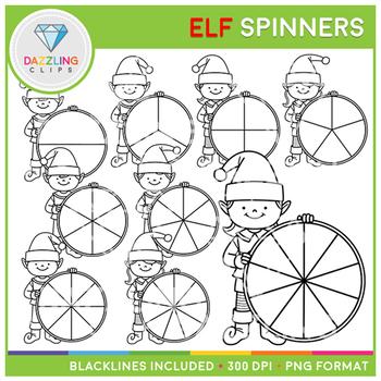 Christmas Elf Spinners Clip Art