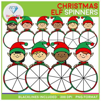 Christmas Elf Spinners Clip Art Set II