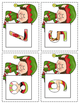 Christmas Elf Ten Frame & Number Matching Games