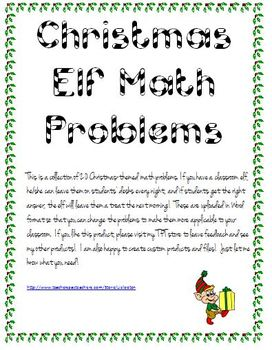 Christmas Elf Word Problems