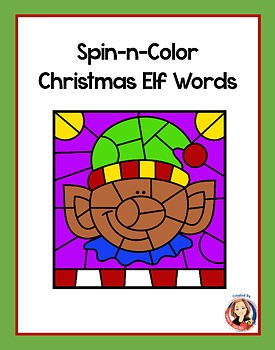 Christmas Elf Words Coloring Activity and Game Freebie