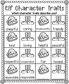 Christmas Elf Writing Craftivity- Character Traits of an Elf