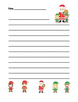 """Christmas Elf"" Writing Sheets –  Common Core (color & black line)"