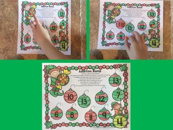 Christmas Elf addition bump game No prep, printable freebie