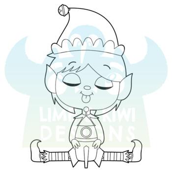 Christmas Elves Boys 1 Digital Stamps, Instant Download Vector Art