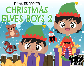 Christmas Elves Boys 2 Clipart | Instant Download Vector Art | Commercial Use