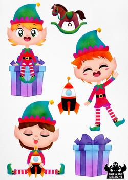 Christmas Elves Boys 3 Watercolor Clipart | Instant Download Vector Art