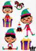 Christmas Elves Boys 4 Watercolor Clipart | Instant Download Vector Art