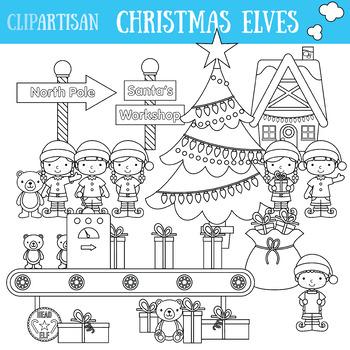 Christmas Elves Clip Art