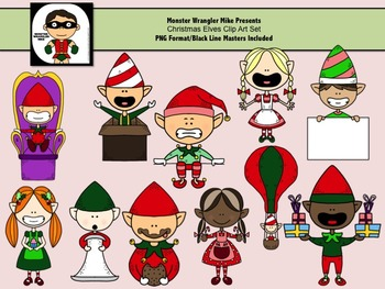 Christmas Elves Clip Art Collection for Commercial or Pers