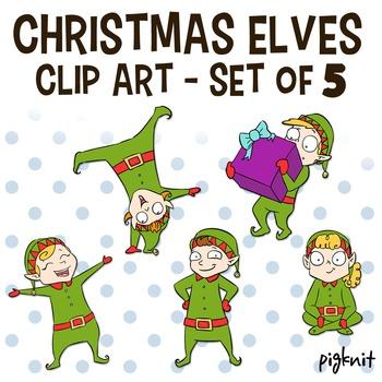Christmas Elves Clip Art - Santa's Helpers - 5 Elf Characters