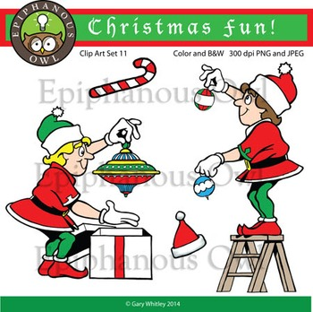 Christmas Elves Clip Art Set 11