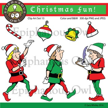 Christmas Elves Clip Art Set 13