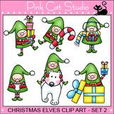 Christmas Elves Clip Art Set 2: elf, candy cane, polar bear, present, hot cocoa