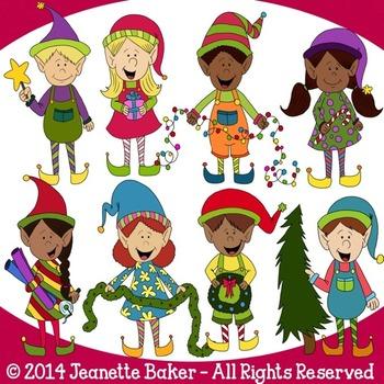 Christmas Elves Clip Art by Jeanette Baker