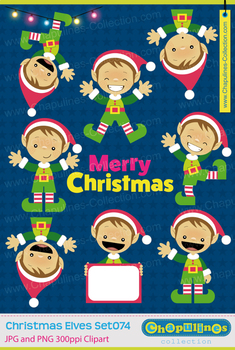Christmas Elves Clipart, Christmas Clipart, Santa's Elves Set 074