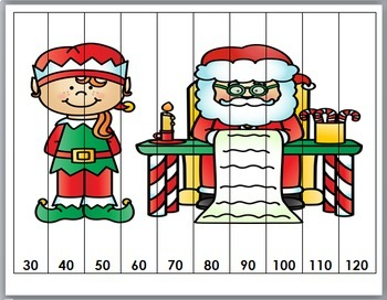 Christmas Number Puzzles - Elf Theme