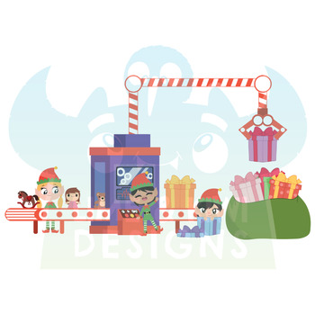 Christmas Elves Girls 1 Clipart | Instant Download Vector Art | Commercial Use