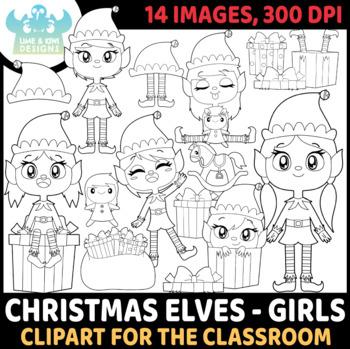 Christmas Elves Girls 1 Digital Stamps, Instant Download Vector Art