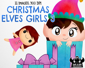 Christmas Elves Girls 3 Watercolor Clipart   Instant Download Vector Art