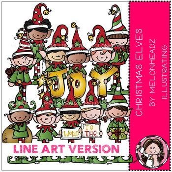 Christmas Elves clip art - LINE ART- by Melonheadz
