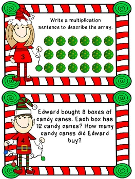 Christmas Elves Multiplication Task Cards