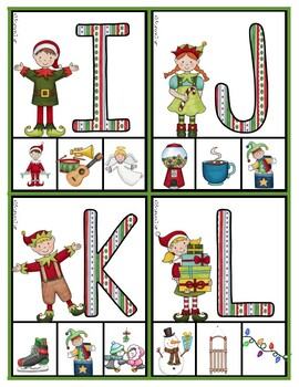 Christmas Elves Phonics:  Matching Letters and Sounds Clip Cards