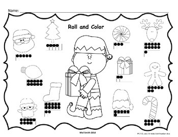 Christmas Elves Roll and Color Ten Frames Edition