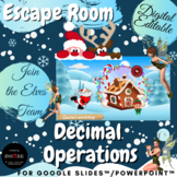 Christmas Winter DIGITAL Math Escape Room - Decimal Order of Operations EDITABLE