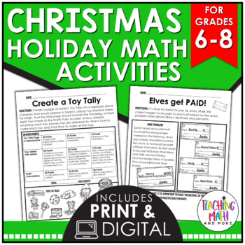 Christmas {Elves Theme} Middle School Math Activities