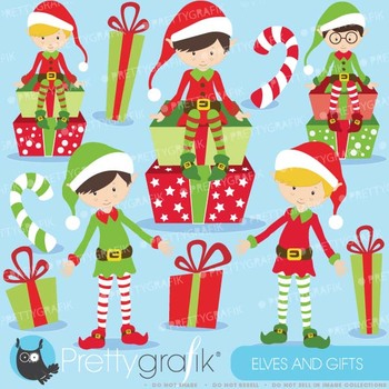 Christmas Elves boys clipart commercial use, vector graphics - CL599