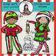 Christmas Elves clip art -Color and B&W-