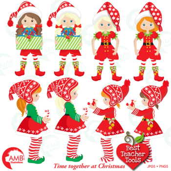 Christmas Elves clipart, Girl Elves with Christmas Tree, AMB-1519