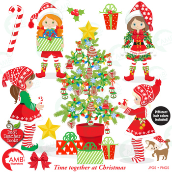 Christmas Decorating Clip Art.Christmas Elves Clipart Girl Elves With Christmas Tree Amb 1519