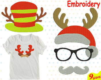 Christmas Embroidery Machine digital 4x4 5x7 hoop Stiches Santa reindeer 91b