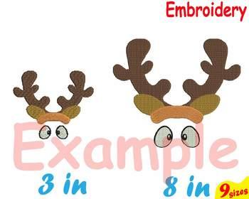 Christmas Embroidery Machine digital 4x4 5x7 hoop Stiches Santa reindeer 93b