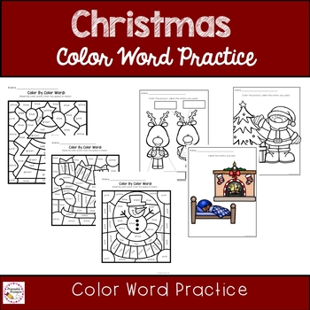 Christmas Emergent Reader Color Word Practice