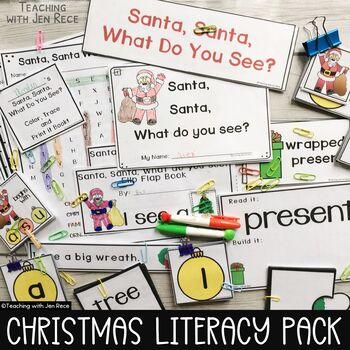 Christmas Emergent Reader: Santa, Santa, What Do You See? + Pocket Chart Cards