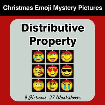 Christmas Emoji: Distributive Property - Math Mystery Pictures