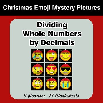 Christmas Emoji: Dividing Whole Numbers by Decimals - Math Mystery Pictures