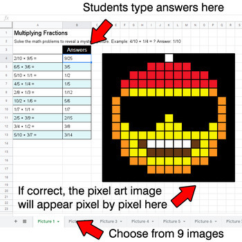 Christmas Emoji - Multiplying Fractions - Google Sheets Pixel Art