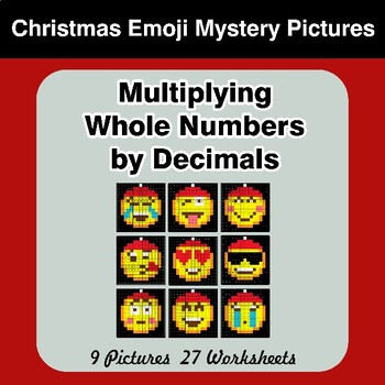 Christmas Emoji: Multiplying Whole Numbers by Decimals - Math Mystery Pictures