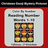 Christmas Emoji: Reading Number Words 1-10 - Color By Numb